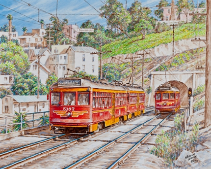 """Renowned artist Harlan Hiney depicts PE """"Hollywood Car"""" 5167 leaving the Subway Terminal tunnel as it heads toward Glendale. This work was inspired by a photograph by Donald Duke, renowned railroad photographer and publisher, for whom Hiney worked for many years, creating the cover art for dozens of books."""
