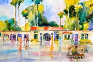 Joseph Stoddard, Pasadena Train Station, watercolor. Winner of the Museum Purchase Prize.