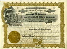 Stock Certificate for Gold Stock, 1915