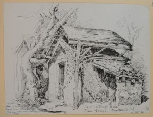"""Cold Storage House, November 10, 1920, ink on paper, 19.5 x 25.8 cm, Montecito, California. Sketched at the"""" old Home of Mrs Robert Louis Stevenson. Now home of Mr. & Mrs. Salisbury Field."""" (ESF.013.3433)"""