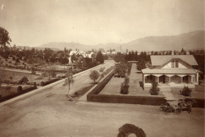 The Stuart home at the corner of Terrace and Howard (later renamed Green) sometime after it was moved in 1893.