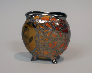 Silver-mounted ceramic vase by Rookwood Pottery Company