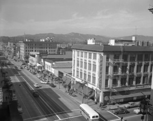 Colorado Boulevard looking northeast, 1952. Photograph by J. Allen Hawkins. (JAH7438-6)