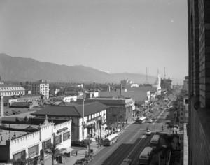 Colorado Boulevard looking northeast, 1952. Photograph by J. Allen Hawkins. (JAH7438-6)