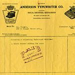 Anderson Typewriter Company receipt