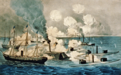 Currier and Ives lithograph of Mobile Bay