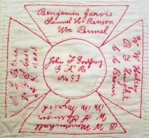 Detail of redwork commemorative W.R.C. quilt, circa 1900