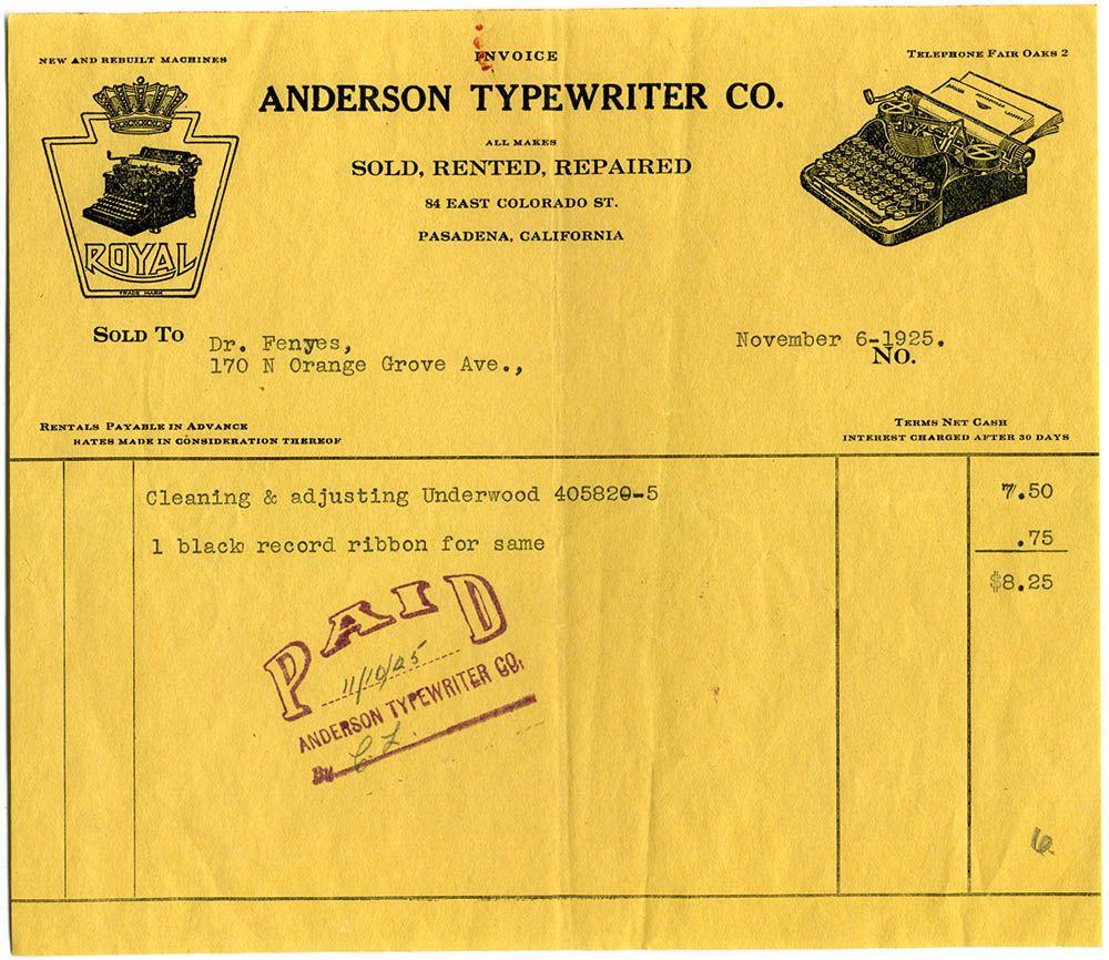 Anderson Typewriter receipt