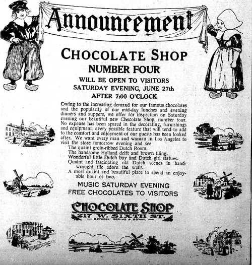 Advertisement for the Chocolate Shop