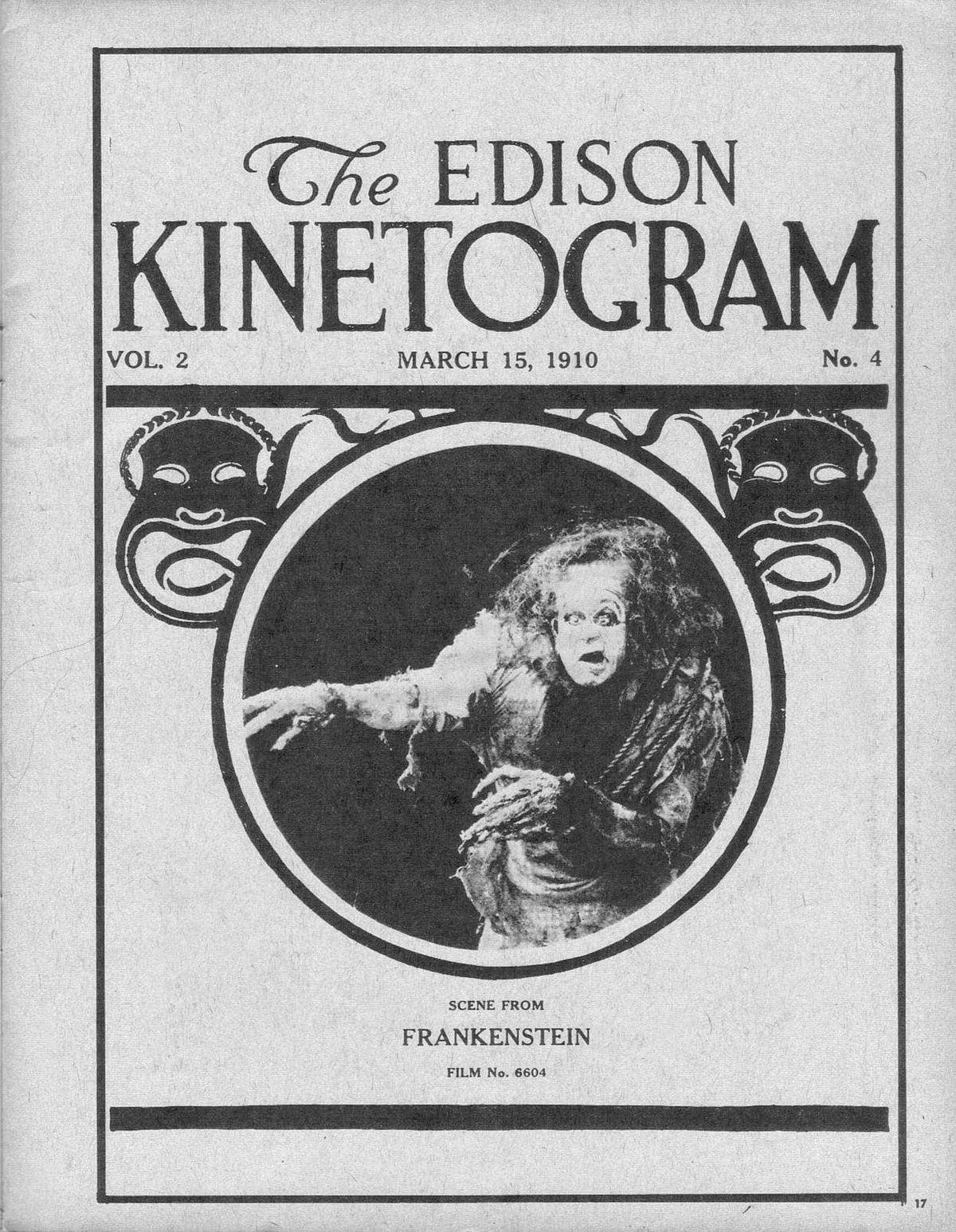 The Edison Kinetogram Frankenstein movie poster, 1910