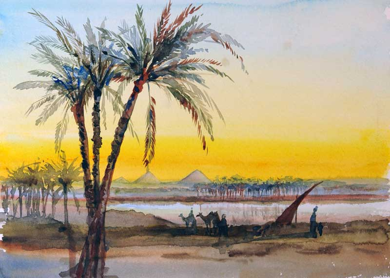 Helouan, March 1895, watercolor on paper, 24.6 x 33.2 cm, Helouan, Egypt. (ESF.007.1839))