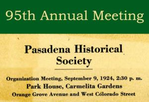 Flyer advertising first meeting of the historical society, 1924 (PMH Archives)