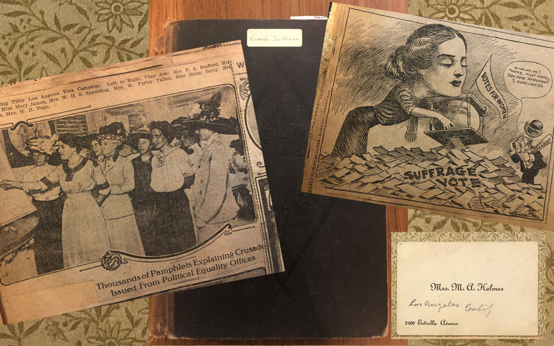 """Early Days of Suffrage in California,"" Scrapbook by Mary A. Holmes (Scrapbook Collection, 112)"