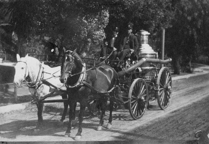 Pasadena's First Fire Engine, 1890s (Courtesy of Pasadena Public Library,  ppl_14550)
