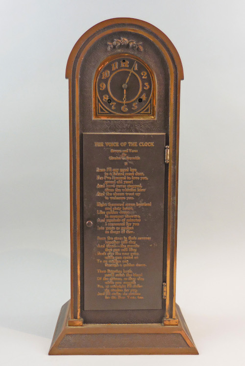 Bronze clock, pre-1933. Made by Charles C. Reynolds, Pasadena, CA. (2019.004.02)