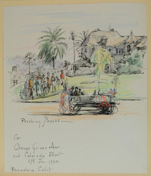Pershing Passes, January 29, 1920, colored pencil and ink on paper, 22.7 x 19.2 cm, Pasadena, California. Sketched at the corner of Orange Grove Avenue and Colorado Street. (ESF.012.3334)