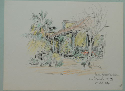 Juan Gracida's Home, February 1, 1920, colored pencil and ink on paper, 19.1 x 25.7 cm, near Walnut, California. (ESF.012.3336)