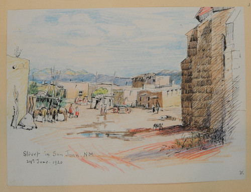 Street in San Juan. N. M., June 24, 1920, colored pencil and ink on paper, 19.3 x 25.8 cm, San Juan, New Mexico. (ESF.013.3362)
