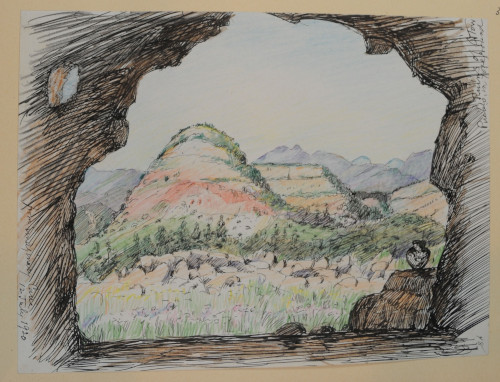 From Imaginary Cave, July 20, 1920, colored pencil and ink on paper, 18.9 x 25.8 cm, near the Otowi Pueblo ruins, New Mexico. (ESF.013.3374)