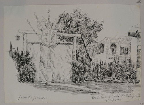 Entrance Gate to Santa Fe Fiesta grounds, September 13, 1920, ink on paper, 19.1 x 25.5 cm, Santa Fe, New Mexico (ESF.013.3413)