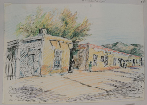 Our Summer Home, October 15, 1920, colored pencil and ink on paper, 19.3 x 25.8 cm, Santa Fe, New Mexico. Sketched on the family's last day in Santa Fe. (ESF.013.3431)
