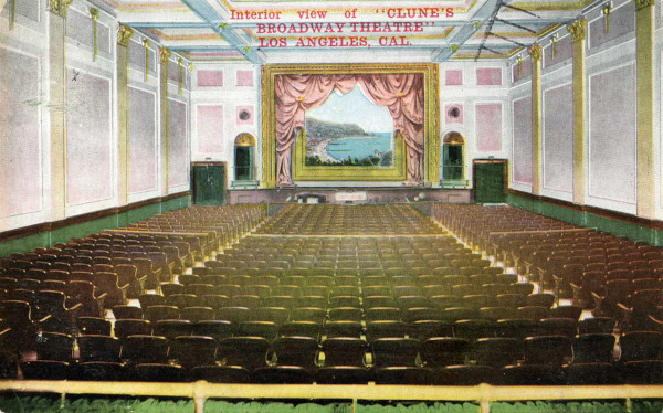 Interior of Clune's Broadway Theatre. Postcard accessed at Flickr