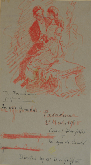 Eva Scott Fenyes (1849-1930). The Frenchman proposes (Pasadena, California) [actors: Carol Dempster & Syn de Conde], 2 November 1918. Colored pencil on paper, 7.5 x 4 in. (Fenyes Collection, ESF.012.3121)