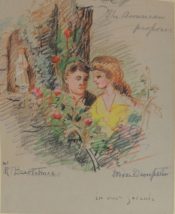 Eva Scott Fenyes (1849-1930). The American proposes (Pasadena, California) [actors: Carol Dempster & Richard Barthelmess], November 1918. Colored pencil on paper, 6.5 x 5 in. (Fenyes Collection, ESF.012.3122)