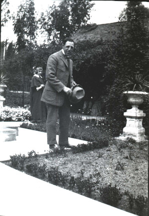 D. W. Griffith on location at the Fenyes Mansion in March 1912. (Fenyes Collection, FCP.40.2 p.143 B)