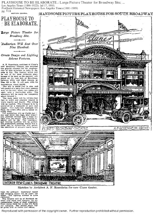 """""""Playhouse to be Elaborate,"""" 17 July 1910, Los Angeles Sunday Times, Part V, p. 8. ProQuest Historical Newspapers. Click image to enlarge."""