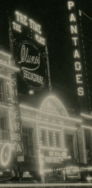 Exterior of Clune's Broadway Theater, c. 1915. The Clune's Clock was a local landmark. (Flag Photography, Pasadena California. Courtesy Bob Bennett)