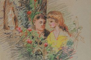 The American proposes (Pasadena, California) [actors: Carol Dempster & Richard Barthelmess], November 1918. Colored pencil on paper, 6.5 x 5 in. (Fenyes Collection, ESF.012.3122)