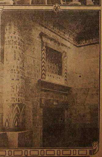 """""""Egyptian Traits Strongly Marked in New Theater,"""" Pasadena Star News, 5 May 1925, p. 17. (Newspaper Collection)"""