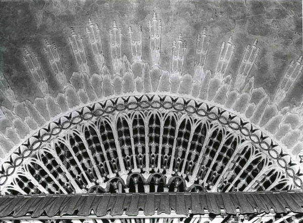 Surviving detail of the rayed sun originally placed above the proscenium arch of Warner's Egyptian Theater, 17 August 1980. (Photograph by Judith Gordon, PSN-Theaters)