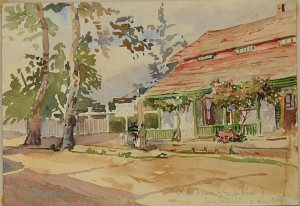 The small white sign in the center of this painting reads San Gabriel Hotel. Eva Scott Fenyes (1849-1930). Old house (Grape Vine), San Gabriel, California, 10 May 1904. Watercolor on paper, 7 x 10 in. (Fenyes Collection, ESF.008.2136)