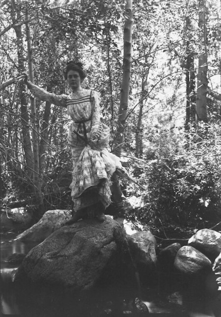 Helen Lukens Gaut on rocks, n.d. (HLG-190). Images from the Helen Luken Gaut Collection are being preserved thanks to Great History Freeze donors.