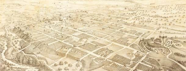 """On November 24, 1886 the Pasadena Star described the first lithograph of the city as """"that magnificent birds-eye view of Pasadena, the finest lithograph view ever made in California …"""" West Pasadena is depicted with extensive orchards and few homes before the building boom that would change the area."""