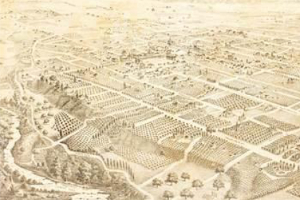 the first lithograph of Pasadena, 1886